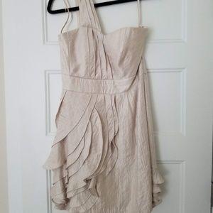 One-Shoulder Ruffle Dress, Beige/Gold, LIKE NEW